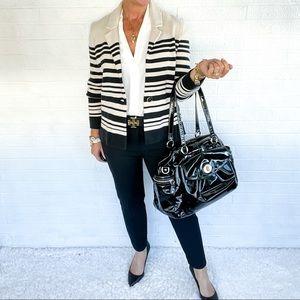 Loft Black Tan Sweater Blazer - M